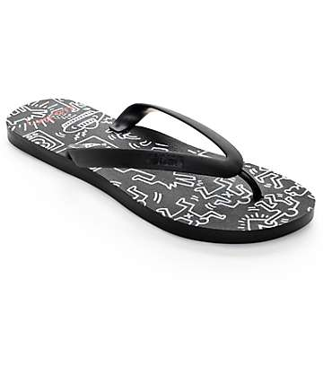 Tidal x Keith Haring Coloring Book Black Sandals