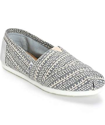 Toms Alpargata Grey Printed Wool Womens Shoes
