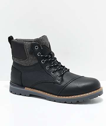 Toms Ashland Black Leather Boots