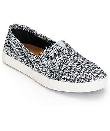 Toms Avalon Black & Grey Mesh Womens Shoes