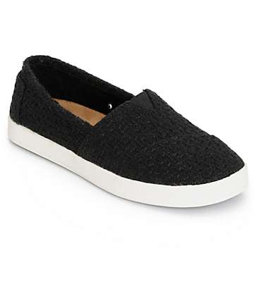 Toms Avalon Black Boucle Womens Shoes