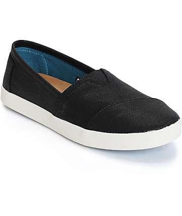 Toms Avalon Black Coated Canvas Womens Shoes