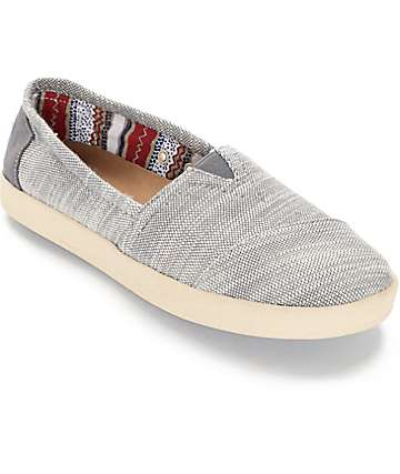 Toms Avalon Grey Textured Woven Womens Shoes