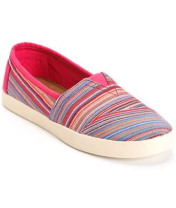 Toms Avalon Raspberry Stripe Woven Womens Shoes