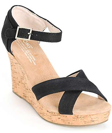 Toms Black Canvas Womens Strappy Wedges