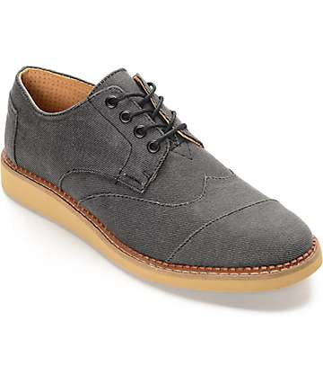 Toms Brogue Lace Up Ash Aviator Twill Shoes