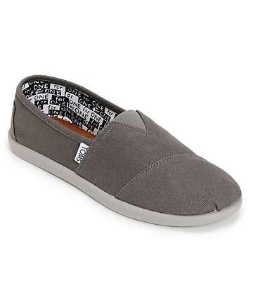 Toms Classic Ash Grey Canvas Slip-On Kids Shoes