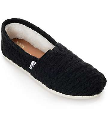 Toms Classic Black Cable Knit Shearling Shoes