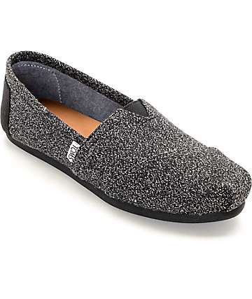 Toms Classic Black Marl Womens Shoes