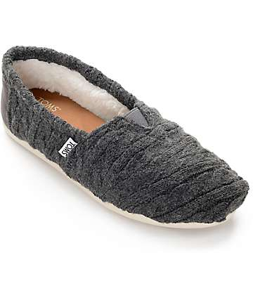 Toms Classic Grey Cable Knit Shearling Shoes
