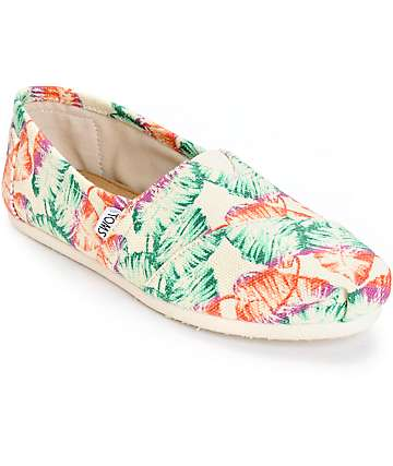 Toms Classic Tropical Floral Burlap Womens Shoes