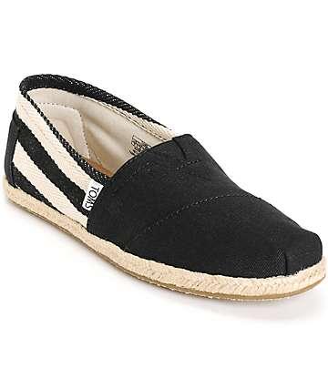 Toms Classic University Black Stripe Women's Shoes
