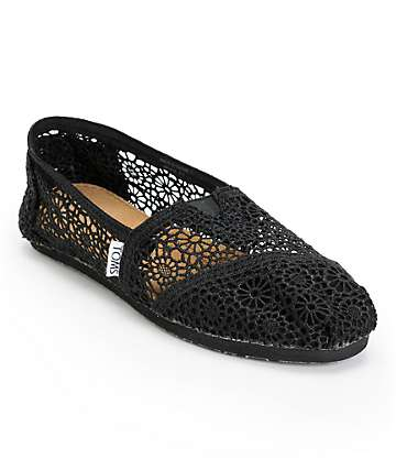 Toms Classics Black Crochet Women's Slip On Shoes