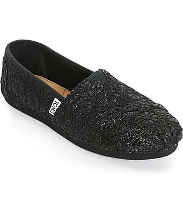 Toms Classics Black Glitter Crochet Womens Shoes