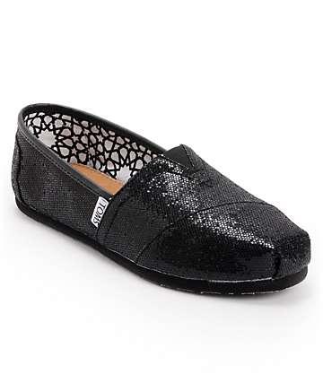 Toms Classics Black Glitter Women's Shoes