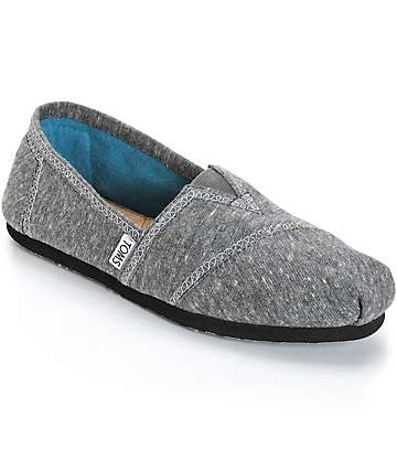 Toms Classics Dark Grey Marled Jersey Womens Shoes