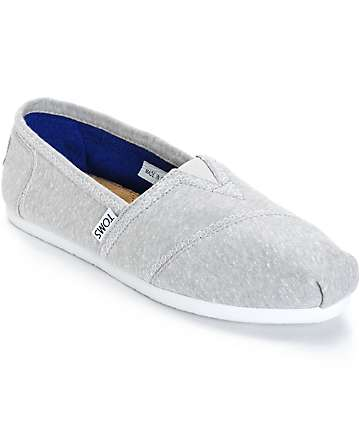 Toms Classics Light Grey Marled Jersey Womens Shoes