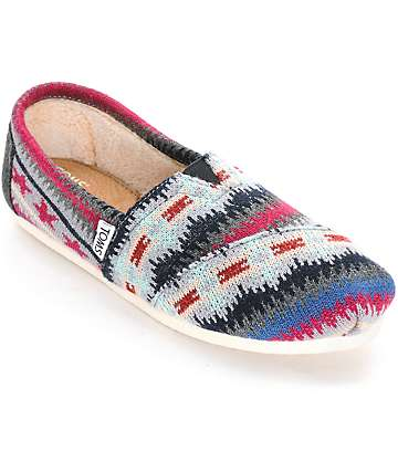 Toms Classics Multi Knit Shearling Womens Shoes