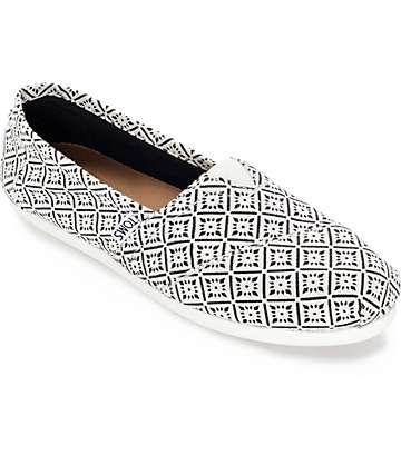 Toms Classics White Tile Canvas Womens Shoes