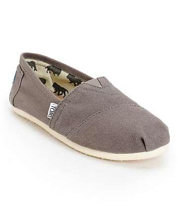 Toms Classics zapato slip on de lona canvas color ceniza (mujer)