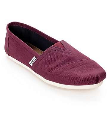 Toms Classics zapatos de mujer de lona sin lazos en borgoña