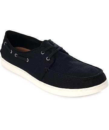 Toms Culver zapatos de lino en negro con cordones