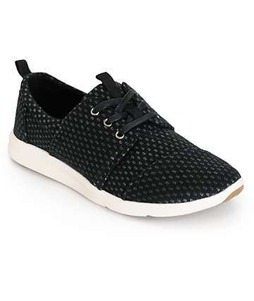 Toms Del Rey Black & Silver Textile Womens Shoes