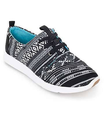 Toms Del Rey Black and White Cultural Woven Womens Shoes