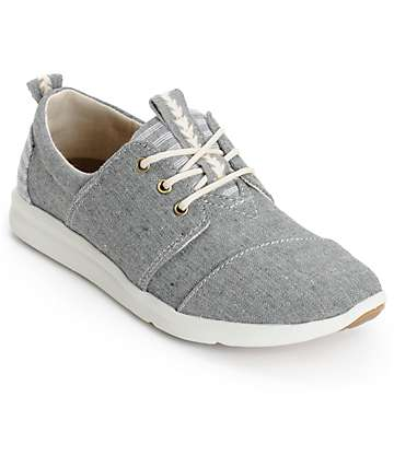 Toms Del Rey Grey Chambray Blocked Womens Shoes