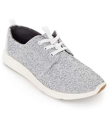 Toms Del Rey Grey Tribal Print Womens Shoes