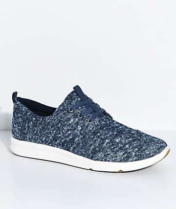 Toms Del Rey Navy Washed Denim Shoes
