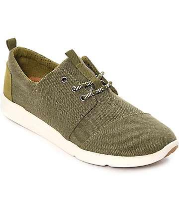 Toms Del Rey zapatos en color verde olivo