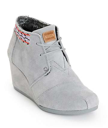 Toms Grey Embroidered Desert Wedge Shoes