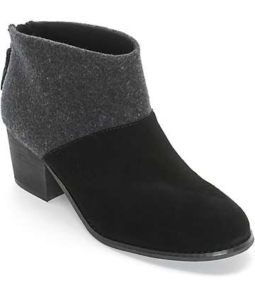 Toms Leila Black Wool & Felt Womens Boots