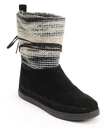 Toms Nepal Black Wool Stripe Womens Boots