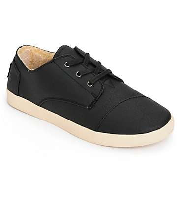 Toms Paseo Black Synthetic Leather Womens Shoes