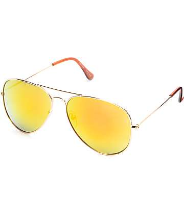 Top Gun Aviator Gold with Red Mirror Sunglasses