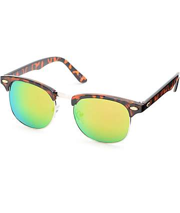 Tortoise & Green Mirror Clubmaster Sunglasses