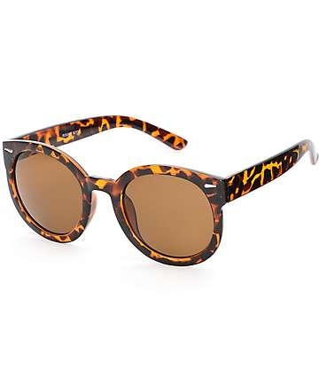 Tortoise Kitty Round Sunglasses