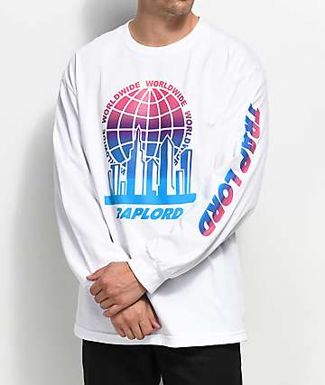 Trap Lord City Logo Long Sleeve White T-Shirt