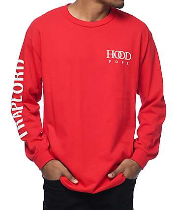 Trap Lord Hood Pope Red Long Sleeve T-Shirt