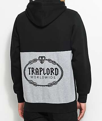 Trap Lord Paneled Black & Grey Pullover Hoodie