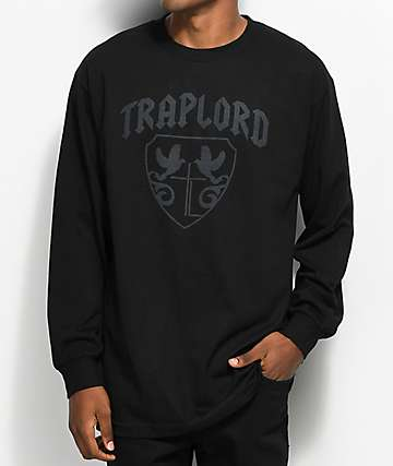 Traplord Crest Tonal Black Long Sleeve T-Shirt