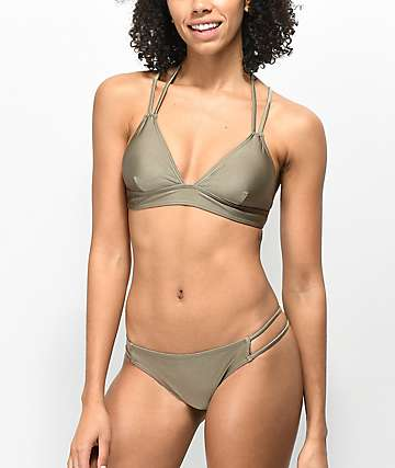 Trillium Alex Shimmer Taupe Strappy Super Cheeky Bikini Bottom