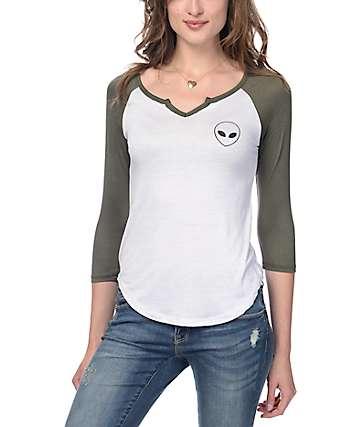 Trillium Alien White & Olive Baseball T-Shirt