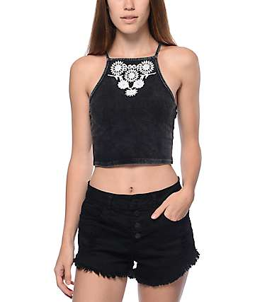 Trillium Allie Acid Wash Black Crop Tank Top