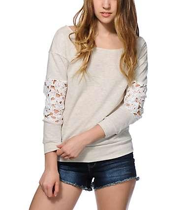 Trillium Anna Lace Sleeve Crew Neck Sweatshirt