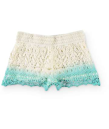 Trillium Ashlyn Mint Dip Dye Crochet Shorts