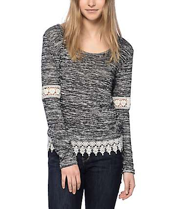 Trillium Bart Crochet Trim Black & White Sweater