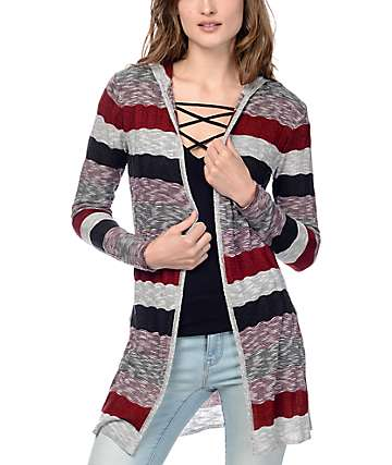 Trillium Brooke Burgundy Stripe Hooded Cardigan